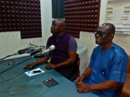 Comrade Ovuozourie Macaulay (right) Speaking During a Live Programme at Delta Broadcasting Service Radio, Asaba Anchored by Akpati Ogwude (right)