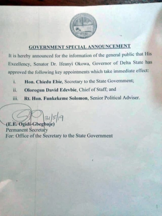 Okowa's First Appointment
