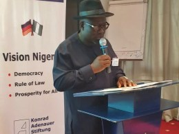 Rt. Hon Sheriff Oborevwori Speaking at an Orientation Workshop organised by Konrad Adenauer Siftung for members -elect of  Rivers and Delta States Houses of Assembly