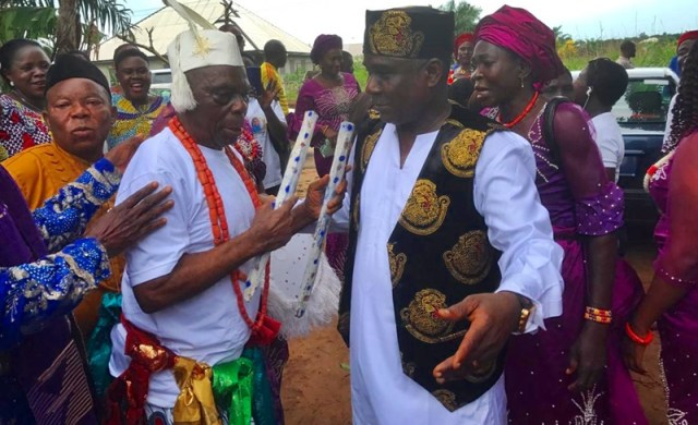 L-R: The New Onotu-Uku of Umutu, Chief Ojo Obianukor, and his son Hon (Dr) Alphonsus Ojo, Member Representing Ukwuani Constituency at the Delta State House of Assembly.