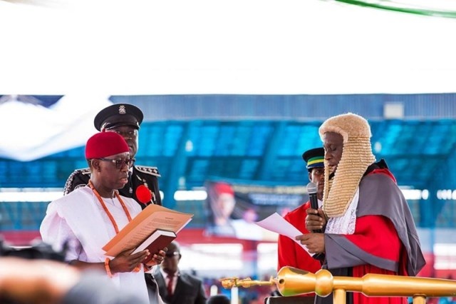 Governor Ifeanyi Okowa During the Administration of His Second Term Oath of Office