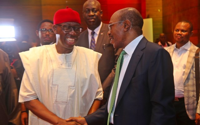 Delta State Governor, Senator Ifeanyi Okowa (left) and Governor of Central Bank of Nigeria, Mr. Godwin Emefiele, during the Book Launch African Arise and Shine, at Eko Hotel, Lagos State on September 17, 2018