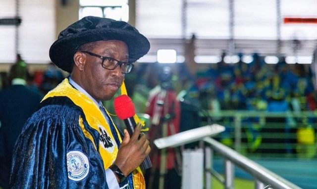 Delta State Governor, Senator (Dr) Ifeanyi Okowa Speakingduring the 13th Convocation ceremony of Delta State University, DELSU, Abraka