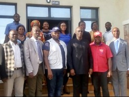 Delta SSG, Chiedu Ebie (3rd right) flanked by Officials of SFH in charge of LLINS distribution in Delta State