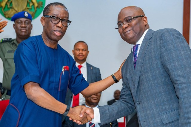 Delta State Governor, Dr. Ifeanyi Okowa Congratulating Hon Johnson Erijo after being Sworn-in as Special Adviser