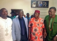 Hon Ferguson Onwo, Member Representing Isoko South 2 Constituency flanked by Leaders of Umeh and Erohwa Communities