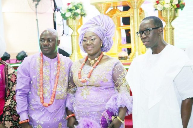 Delta State Governor, Senator Ifeanyi Okowa (right); Hon. Guwor Emomotimi (left) and his wife, Mrs. Timi-Ebi, during a Thanksgiving Service of Hon. Emomotimi and Baby Dedication of Niki-Guwor Venessa, at Redemption Hall Mega Parish RCCG (Delta 5 Head Quarters) Bright Hope Street, Off Airport Road Warri.