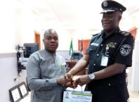 Delta NUJ Chairman, Michael Ikeogwu and CP Adeyinka Adeleke, Commissioner of Police, Delta State.