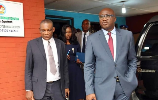 Delta Education Commissioner, Patrick Ukah on Inspection Tour to Examinations Department