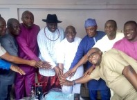 From Right, Hon Ifeanyi Osakwe, Chairman Ndokwa West LGA, Rt. Hon Christopher Ochor Ochor, Deputy Speaker, DTHA, Chief Fidelis Tilije, Delta State Commissioner for Finance, Senator Peter Nwaboishi, Senator Representing Delta North, Chief (Senator) Patrick Osakwe, the Celebrant, Chief James Onanefe Ibori, former Governor of Delta State, Chief Arthur, Chief Ochonogor and Mr. Chika Ossai, Commissioners in Delta State, celebrating with Chief (Senator) Patrick Osakwe on Sunday 11, August, 2019 in Benin City.