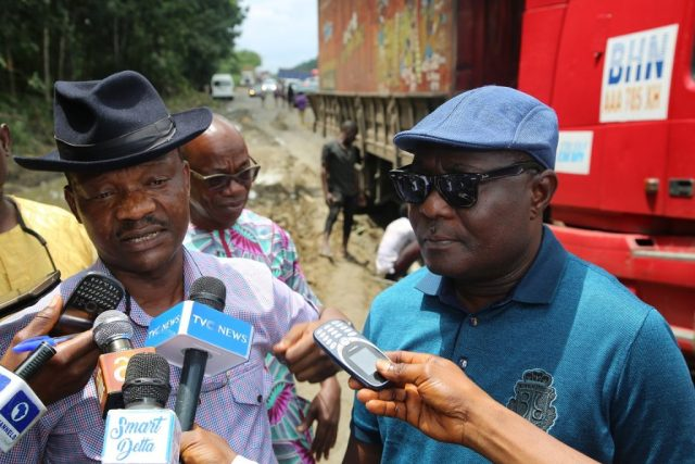 Delta State Commissioner for Information, Mr. Charles Aniagwu (left) and the Commissioner for Works, Chief James Augoye, during the Inspection of Warri-Benin Expressway, at Okuvo Okpe Local Government Area, Delta State.