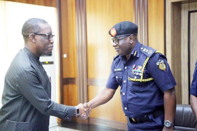 L-R: Delta State Governor, Sen. Ifeanyi Okowa and Deputy Controller Generalof the Federal Fire Service (DCGF), Azogu Gerald