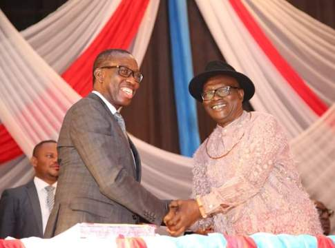 L-R: Governor Ifeanyi Okowa and Comrade (Chief) Ovuozourie Macaulay