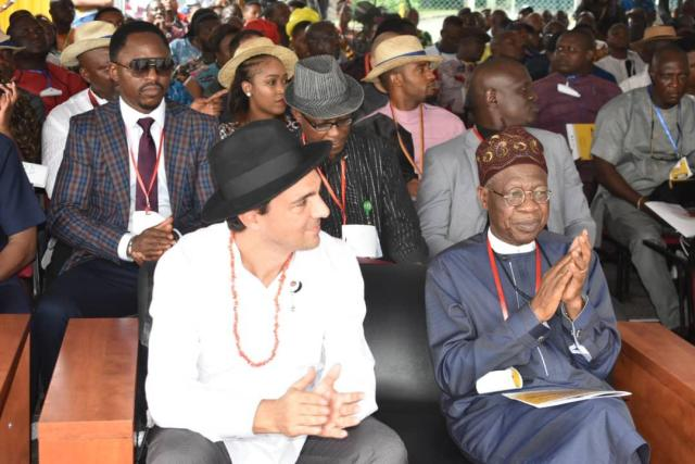 Minister of Information, Culture and Tourism, Lai Mohammed (R), Others at the 2019 NAOC Host Community Day Celebration, in Port-Harcourt, Rivers State