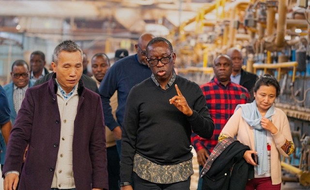 Delta State Governor, Dr Ifeanyi Okowa (Center) on an Inspection Tour at a Chinese Factory