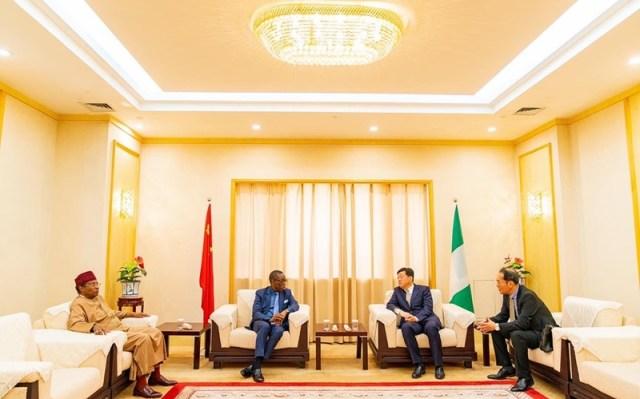 Nigeria Ambassador To China, Amb. Baba Ahmad Jidda , Governor Ifeanyi Okowa and Mr. Zhao Hongbin, Govenor, Liaoning Province at Kwale Industrial Park Road Show in Shenyang, China