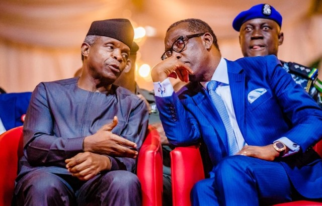 L-R: Vice President of the Federal Republic of Nigeria, Prof. Yemi Osinbajo and Governor of Delta State, Senator Dr. Ifeanyi Okowa at the 18th Joint Planning Board/National Council on Development Planning Meeting, at Event Center Asaba, Delta State on Friday, October 11, 2019