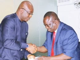 Chief Patrick Ukah, Delta state Commissioner for Basic and Secondary Education and Comrade Titus Okotie, state Chairman of the Nigeria Union of Teachers (NUT), Delta State Wing