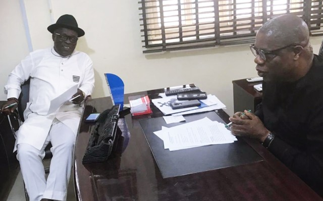 L-R: Peter Uviejitobor, Chairman, DTHA Committee on Water Resources Development and Martins Okonta, Commissioner, Ministry of Water Resources Development