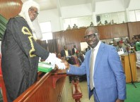 Edo State Governor, Mr. Godwin Obaseki (right) presenting the 2020 budget proposal to the Speaker, Edo State House of Assembly, Rt. Hon. Frank Okiye, at the Assembly Complex in Benin City, on Wednesday, November 13, 2019.
