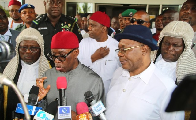 Delta Governor, Senator (Dr) Ifeanyi Okowa (2nd left), accompanied by his Deputy, Barr. Kingsley Otuaro (right), the Speaker of the State House of Assembly, Rt Hon Sheriff Oborevwori (left), and the Deputy Speaker, Rt Hon Christopher Ochor (behind the Deputy Governor), shortly after the presentation of the 2020 Appropriation Bill by the Governor in Asaba.