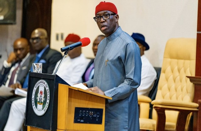 Delta Governor, Senator (Dr) Ifeanyi Okowa during the presentation of the 2020 Appropriation Bill by at the State House of Assembly in Asaba.