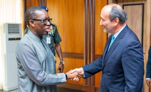 Delta State Governor, Senator Dr. Ifeanyi Okowa (left), welcoming the Ambassadorof the Czech Republic, Marek Skolil when the latter paid him a courtesy visit in Government House, Asaba.