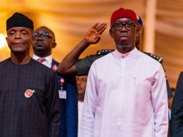 L-R: Vice President, Prof Yemi Osinbajo and Delta Governor, Senator (Dr) Ifeanyi Okowa at the 25thEdition of MSMEs Clinic at the Event Center, Asaba, Delta State