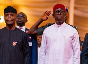 L-R: Vice President, Prof Yemi Osinbajo and Delta Governor, Senator (Dr) Ifeanyi Okowa at the 25th Edition of MSMEs Clinic at the Event Center, Asaba, Delta State