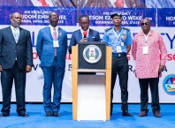 Delta State Governor, Senator Dr. Ifeanyi Okowa(middle); Edo State Governor, Mr. Godwin Obaseki (2nd left); Inspector-General of Police, Abubakar Adamu (2nd right); Special Adviser to the Governor of Akwa-Ibom State on Security, Mr. Fubara Duke (left) and Special Adviser on Security to the Governor of Bayelsa State, Mr. Boma Jack, during the 2019 South-South Regional Police Security Summit, in Asaba Delta State