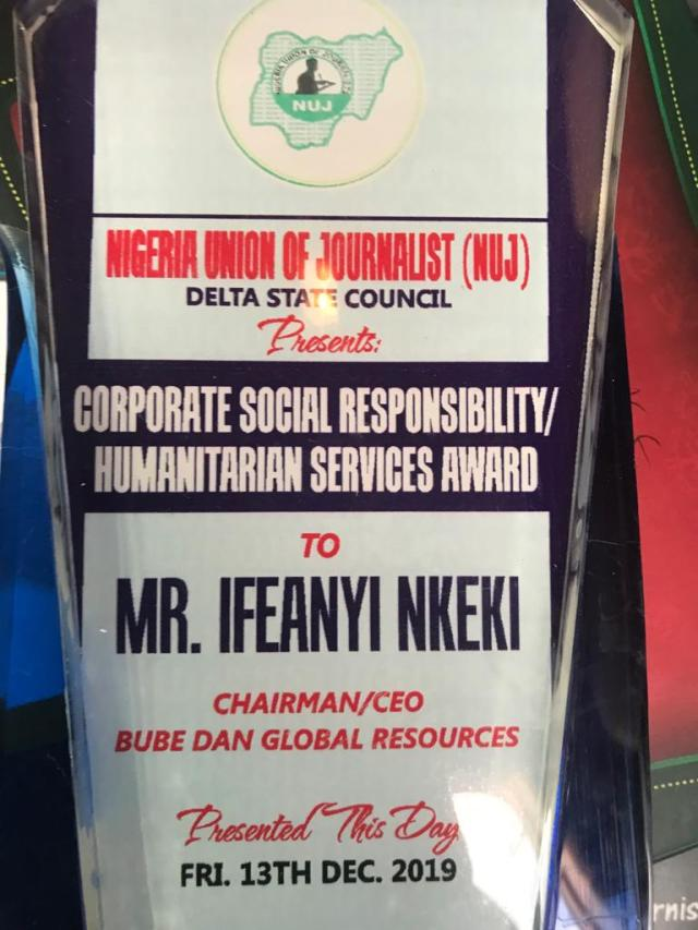 Bube Dan Global Resources Limited Receives Delta NUJ Award