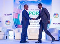 Delta State Governor, Senator Ifeanyi Okowa (left) and Managing Director NEXIM Bank, Abubakar Bello (right) at the South-South Export Enlightenment and Engagement Forum-organized by NEXIM in collaboration with the State Government, held at Event Centre, Asaba on January 28.