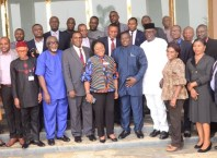 Group Photograph of the Directors and Deputy Directors of the Delta State House of Assembly with the Deputy Speaker, Rt Hon Ochor Christopher Ochor at the opening of the 4 days Strategic Leadership Retreat for Management Staff at Dantinajo Gold Resort, Oleh.