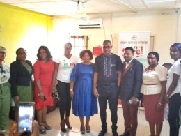 Delta Commissioner for Arts and Culture, Lawrence Ejiofor flanked by NYSC 'A Call To Serve' Film Crew