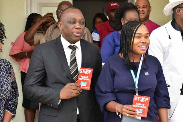 L-R: Mr. Peter Mrakpor Delta Attorney-General and Commissioner for Justice and Mrs. Ijeoma Uduok, NAPTIP Zonal Commander, Benin Zonal Command