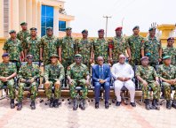 Delta State Governor, Senator (Dr) Ifeanyi Okowa (4th right), Deputy Governor, Barr. Kingsley Otuaro (3rd right), Chief of Army Staff, Lt. General Tukur Buratai (4th left) and other senior military officers, during the inauguration of the 63 Brigade Head Quarters Complex in Asaba, Monday, March 2, 2020