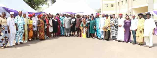 Delta Assembly Speaker Flanked by lawmakers, Assembly Staff and Retirees