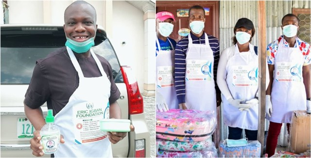 L-R: The Chairman/Chief Executive Officer of the Foundation, Dr Andrew Omagbemi Igban and Team Members at the awareness and sensitization campaign on Covid-19 and distribution of preventive materials in Ugborodo community