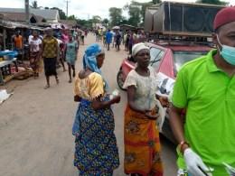 Women in Umuaja Market, Ukwuani Local Government Area, During the Deputy Speaker, Delta State House of Assembly, Rt. Hon Ochor Christopher Ochor Sensitisation program for Covid-19