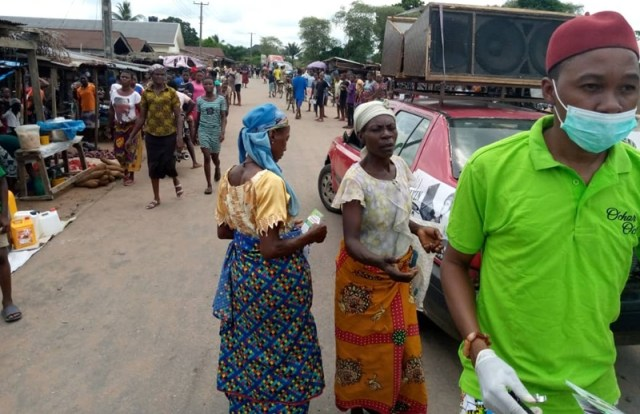 Women in Umuaja Market, Ukwuani Local Government Area, During the Deputy Speaker, Delta State House of Assembly, Rt. Hon Ochor Christopher Ochor Sensitisation program for Covid-19