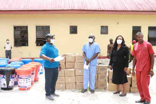 Delta Speaker Rt Hon Sheriff Oborevwori donates hand sanitizers and other items to Okpe Constituents