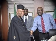 L-R: Minister of Niger Delta Affairs, Senator Godswill Akpabio and Prof Kemebradikumo Daniel Pondei, Acting Managing Director, NDDC