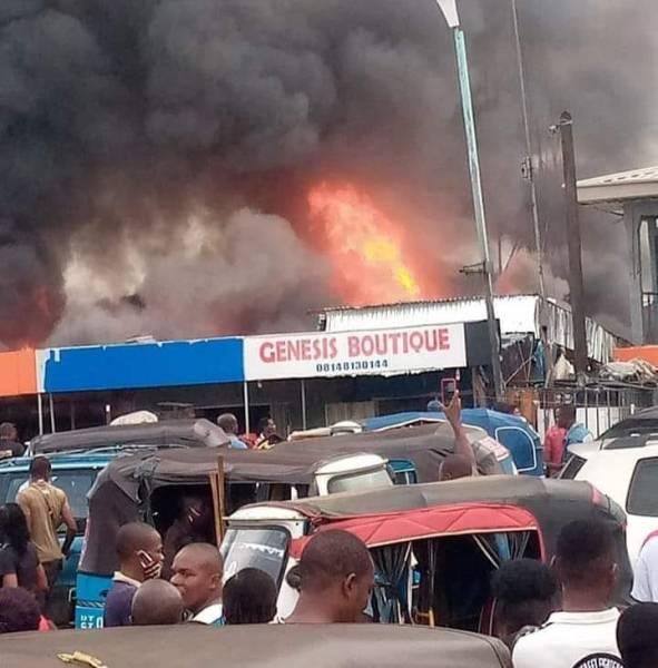 Ogbeogonogo Market Asaba on Fire