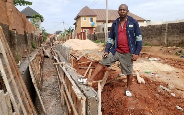 Dr. Sunday Okonji, philanthropist building 700 metres drainage in Okpanam Community in Delta State
