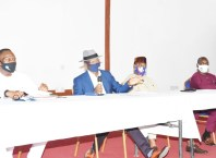 From Left: Economic Planning, Commissioner, Dr. Barry Gbe, Commissioner for Information, Mr. Charles Aniagwu, Chairman Delta State Board of Internal Revenue, Chief Monday Onyema, and the Commissioner for Finance, Sir Fidelis Tilije at a press briefing on tax incentive to cushion the effect of COVID 19 in the State on Wednesday, July 29, 2020.(PIX: BRIPIN)