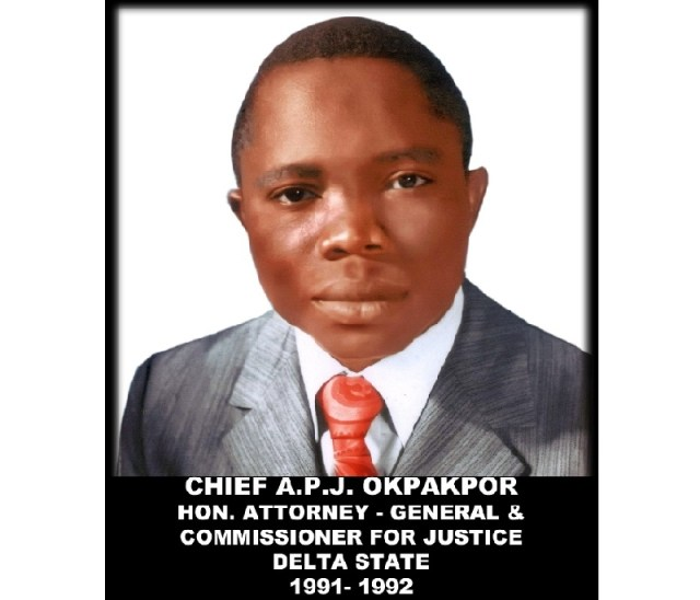 Later Chief Patrick Okpakpor, the first Attorney-General of Delta State