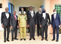 Delta Attorney General and Commissioner for Justice, Peter Mrakpor with the Controller of Corrections, Delta State Command, Nigerian Correctional Service, Ovie Esezobor (middle) and other in a group photograph (PIX: A-G's Office)