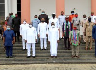 Delta Governor, Senator Ifeanyi Okowa (3rdright), Deputy Governor, Barr. Kingsley Otuaro (3rdleft), Member representing Patani Constituency (DTHA), Hon Emmanuel Sinebe (1stleft), Secretary to Delta State Government , Barr. Chiedu Ebie (1stright), and other members of the State Executive Council with the new Executives of Ijaw Youth Council (IYC) led by its President, Comrade Peter Timothy Igbifa (2ndright), during a courtesy visit to the Governor by the group in Asaba on Friday, August 14, 2020
