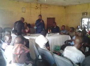 Daniel Yingi Speaking at a meeting of PDP members at Burutu Ward Four