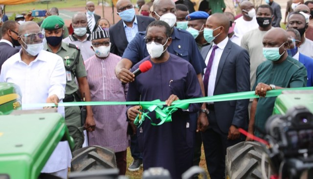 Delta Governor, Senator (Dr.) Ifeanyi Okowa (middle), flanked by his Deputy, Barr. Kingsley Otuaro (left), and the Commissioner for Agriculture, Hon Julius Egbedi (right), and others during the inauguration of Twenty Unit of Tractors and Farm implements for the enhancement of Agricultural activities in the State on Wednesday, September 2, 2020.